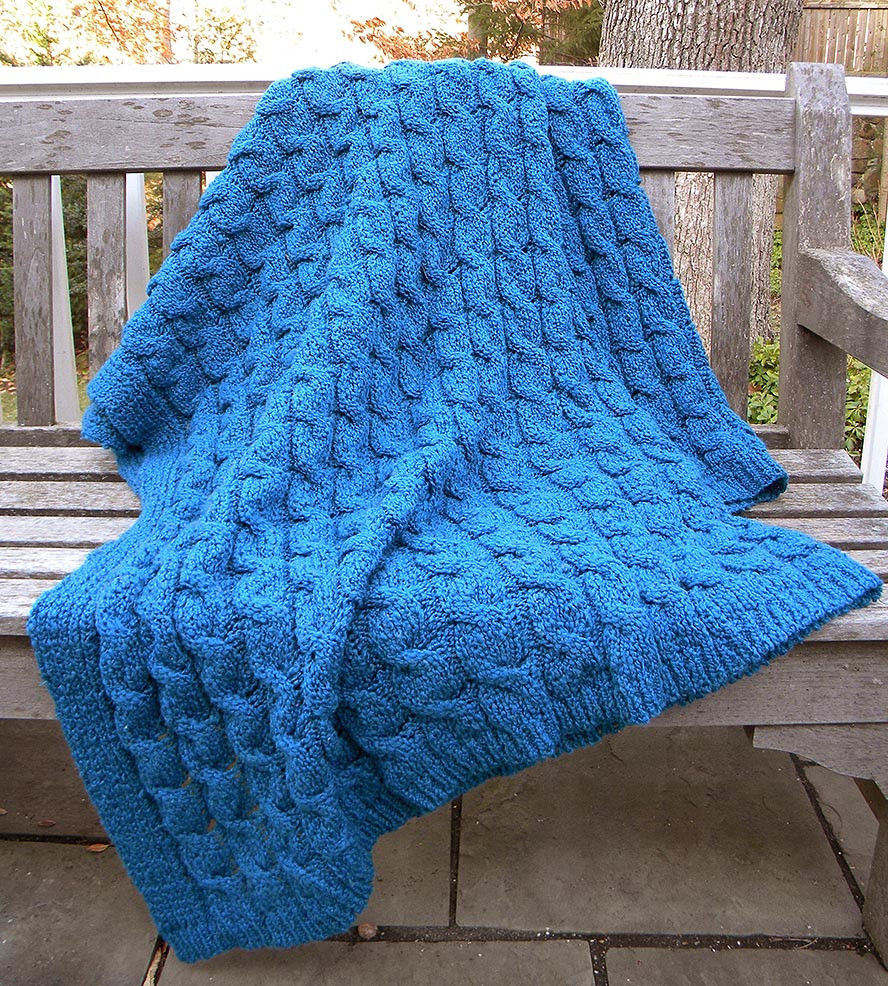 Acrylic Cotton Cable Knit Throw Blanket