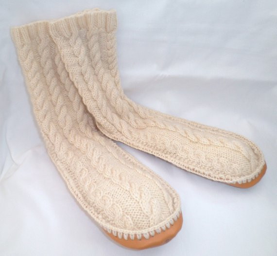 New Adult Hand Knit Cream Wool Slipper socks Leather by Slipper soles for Knitting Of Superb 40 Images Slipper soles for Knitting