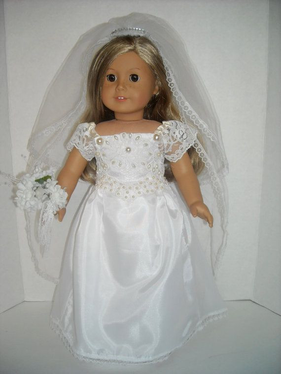 "New American Girl 18"" Doll Pearl Embellished Wedding Gown and American Girl Doll Wedding Dress Of Beautiful American Girl Doll Wedding Dress Satin and Silver American Girl Doll Wedding Dress"