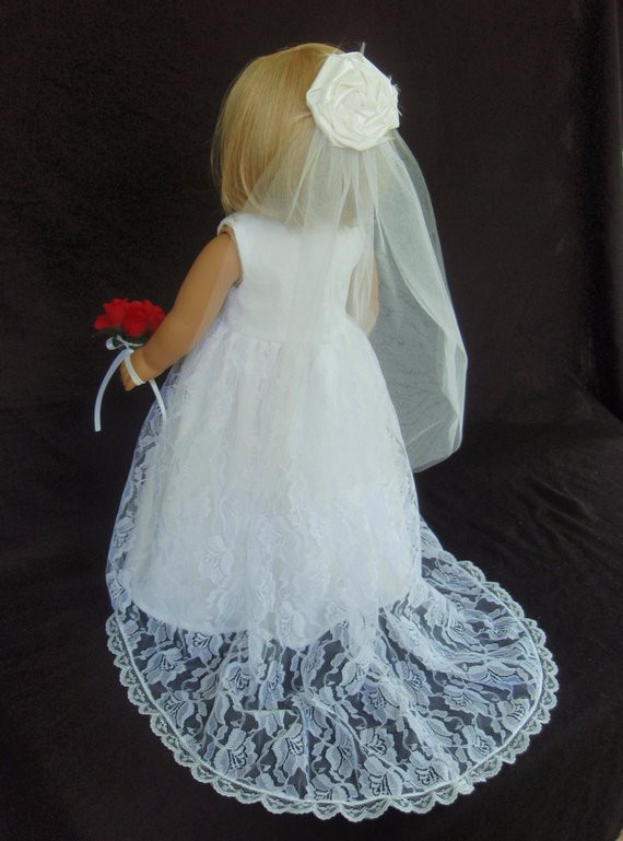 New American Girl Doll Clothes Traditional Wedding Gown Dress American Girl Doll Wedding Dress Of Beautiful American Girl Doll Wedding Dress Satin and Silver American Girl Doll Wedding Dress