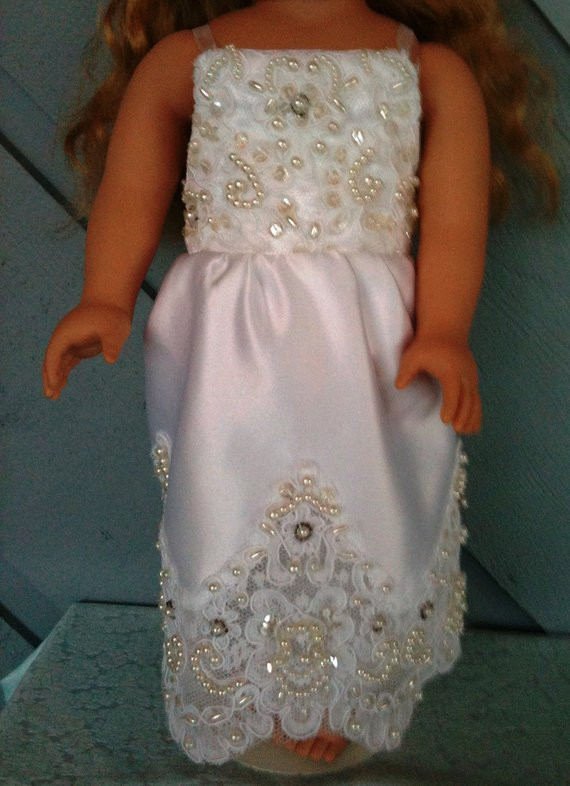 New American Girl Doll Wedding Dress by Annasdollboutique On Etsy American Girl Doll Wedding Dress Of Beautiful American Girl Doll Wedding Dress Satin and Silver American Girl Doll Wedding Dress
