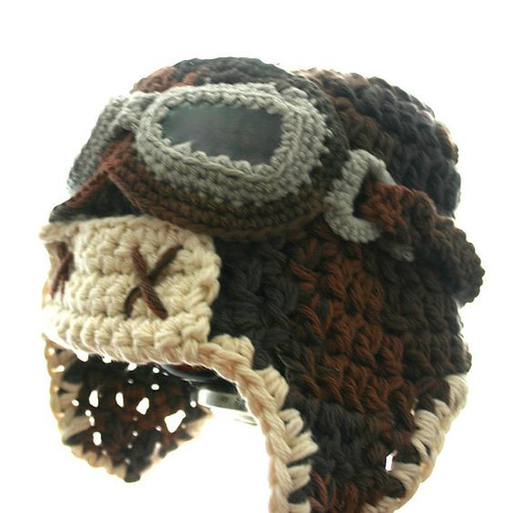 Aviator Hat Set with Goggles Cotton Crochet