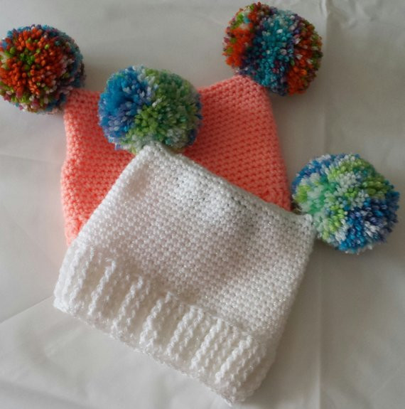 New Beautiful Crochet Babies Hat with Double Pom Poms 0 3 and 3 6 Crochet Pom Pom Hat Of Perfect 50 Pictures Crochet Pom Pom Hat