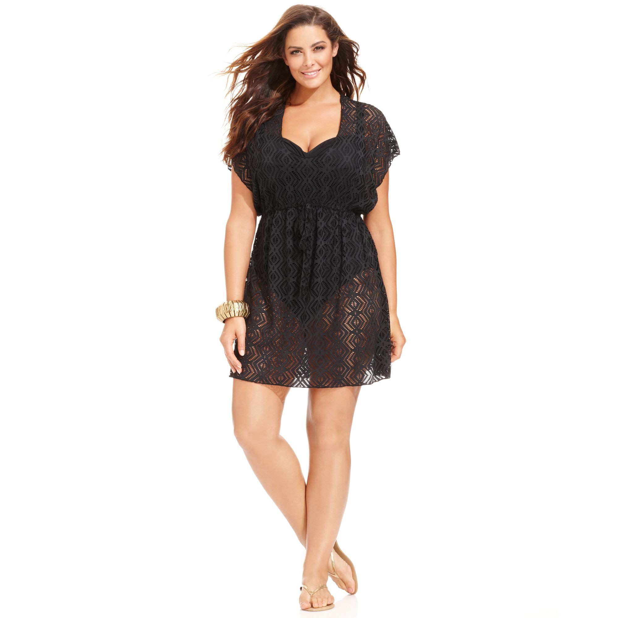 Becca Plus Size Crochet Tunic Cover Up in Black