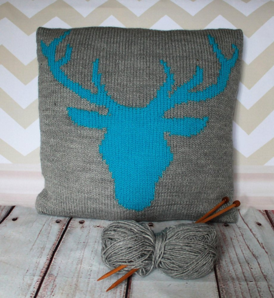 Beginner Stag Head Cushion Cover Knitting pattern by Ruby