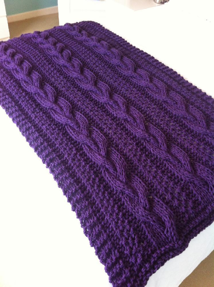 braided cable chunky blanket throw knitting pattern by daisy gray knits