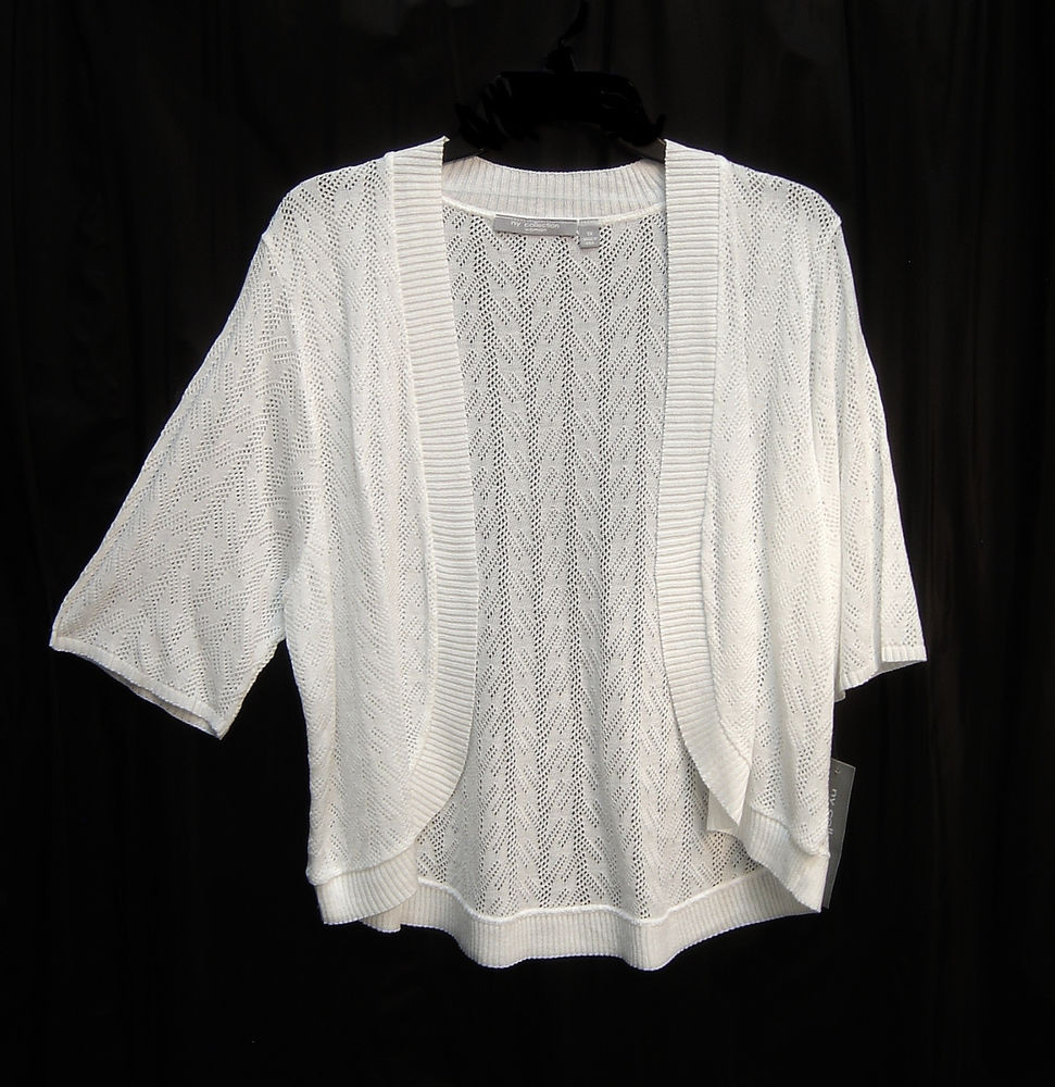 BRITE WHITE SOFT OPEN FRONT WEAVE KNIT CROCHET CARDIGAN