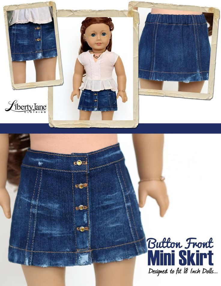 "New button Front Mini Skirt 18"" Doll Clothes Pattern American Girl Doll Skirts Of Incredible 50 Ideas American Girl Doll Skirts"