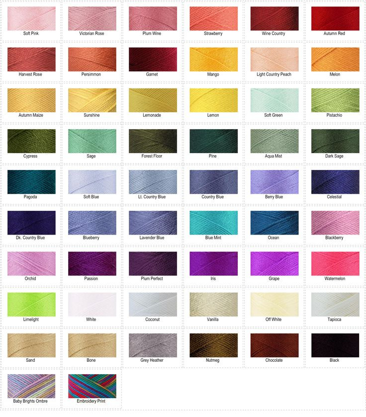Caron Simply Soft color chart Yarn Pinterest