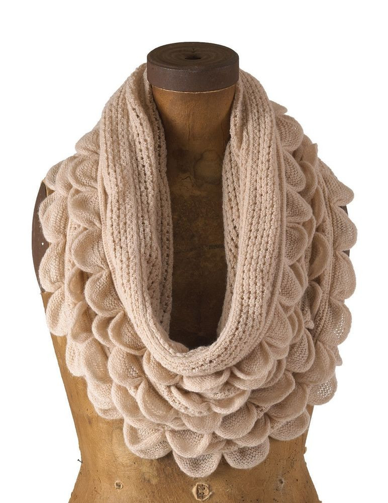 New Chic Oversized Ruffle Knitted Infinity Loop Scarf 3 Knit Ruffle Scarf Of Marvelous 50 Pics Knit Ruffle Scarf