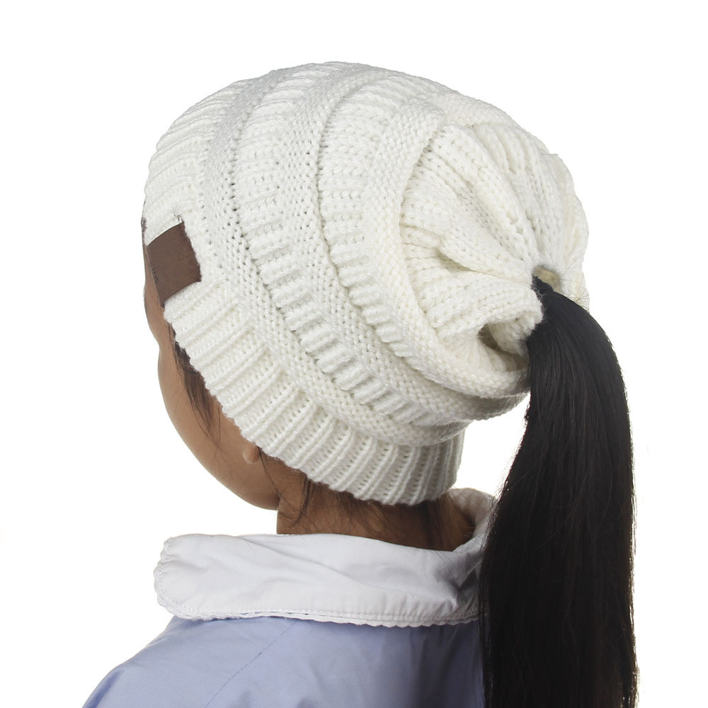New Children Messy High Bun Ponytail Stretchy Knitted Beanie Messy Bun Beanie for Sale Of Lovely 49 Models Messy Bun Beanie for Sale