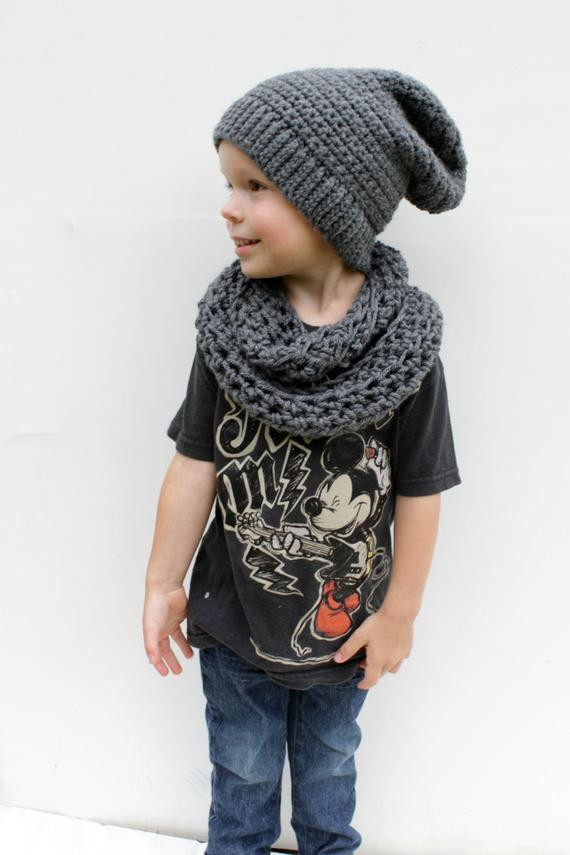 Children s Infinity Scarf Grey Toddler Crocheted Scarf