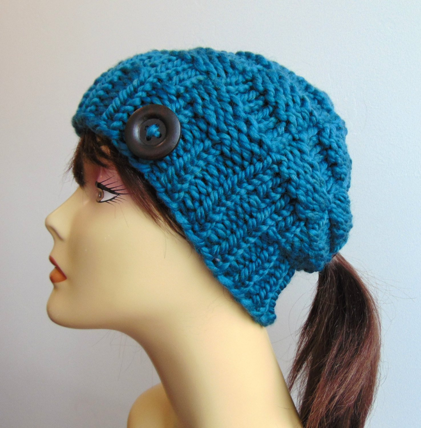 New Chunky Knit Teal Blue Pony Tail Hat Beanie Ponytail Hole Beanie Hat with Ponytail Hole Of Incredible 47 Photos Beanie Hat with Ponytail Hole