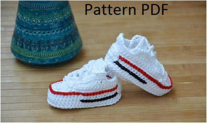 New Converse Sneaker – Styled Baby Booties [ Crochet Patterns Crochet Converse Baby Booties Of Wonderful 41 Models Crochet Converse Baby Booties