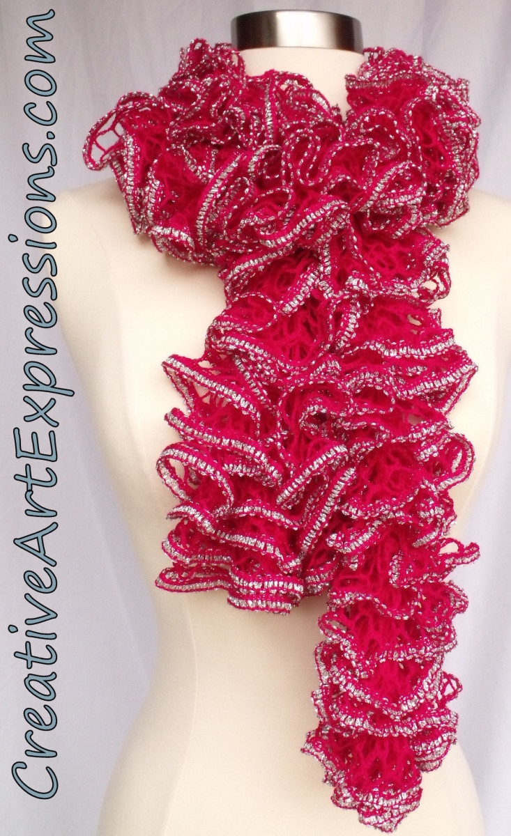 Creative Art Expressions Hand Knit Pink Topaz Ruffle Scarf