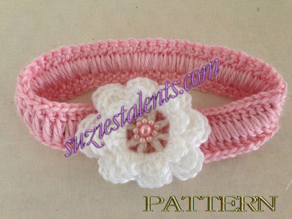 crochet baby headband with flower pattern Crochet and Knit