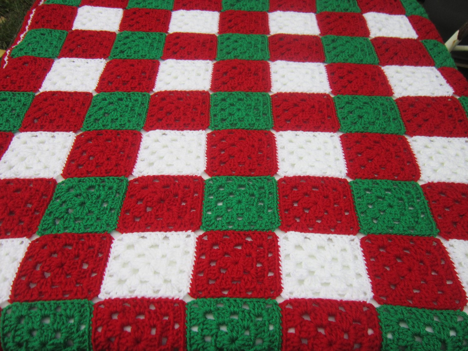 Crochet Christmas Baby Granny Square Afghan Baby Blanket for