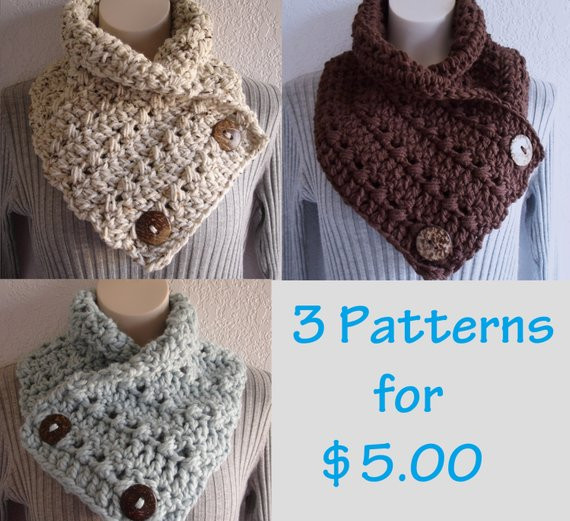 New Crochet Chunky Crochet Cowl Neckwarmer Scarf with buttons Crochet button Scarf Of Top 47 Images Crochet button Scarf