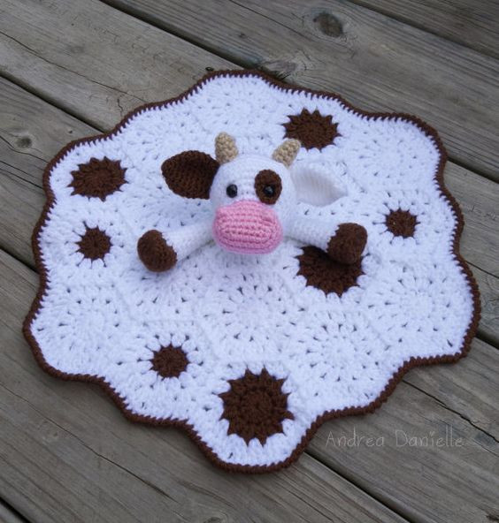 New Crochet Cow Lovey Security Blanket White Brown by Crochet Lovey Blanket Of Attractive 46 Pics Crochet Lovey Blanket