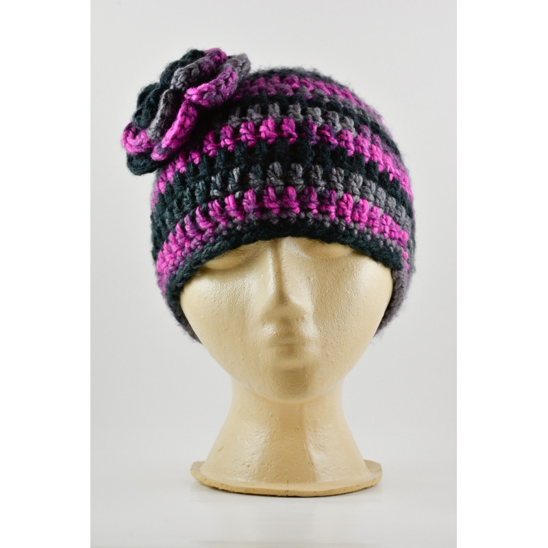 New Crochet Flower Hat Black and Purple Crochet Flower for Hat Of Beautiful 45 Photos Crochet Flower for Hat