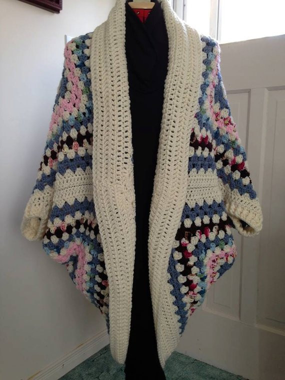 New Crochet Granny Square Cocoon Sweater Cardigan Shrug with Granny Square Sweater Of Superb 45 Photos Granny Square Sweater