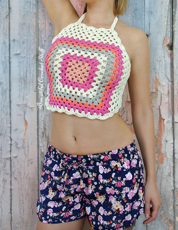 New Crochet Granny Square Halter top Crochet Halters Of Incredible 40 Models Crochet Halters