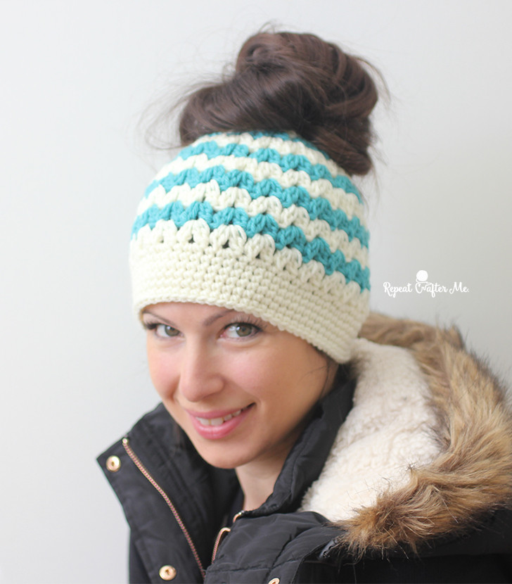 New Crochet Mommy and Me Messy Bun Hats Repeat Crafter Me Free Messy Bun Hat Pattern Of Amazing 42 Ideas Free Messy Bun Hat Pattern