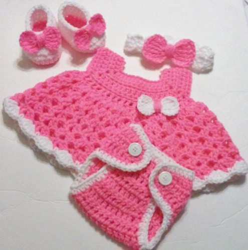 New Crochet Newborn Pink Dress Set Diaper Cover Headband Crochet Baby Sets Of Amazing 49 Models Crochet Baby Sets