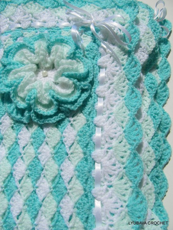 New Crochet Pattern Baby Blanket Turquoise Sea Shell Baby Shower Crochet Shell Baby Blanket Of Lovely 50 Ideas Crochet Shell Baby Blanket