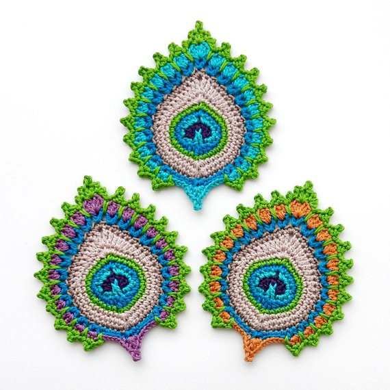 "New Crochet Pattern Peacock Feather ""nemali"" Motif Coaster Crochet Peacock Feather Of Great 44 Models Crochet Peacock Feather"