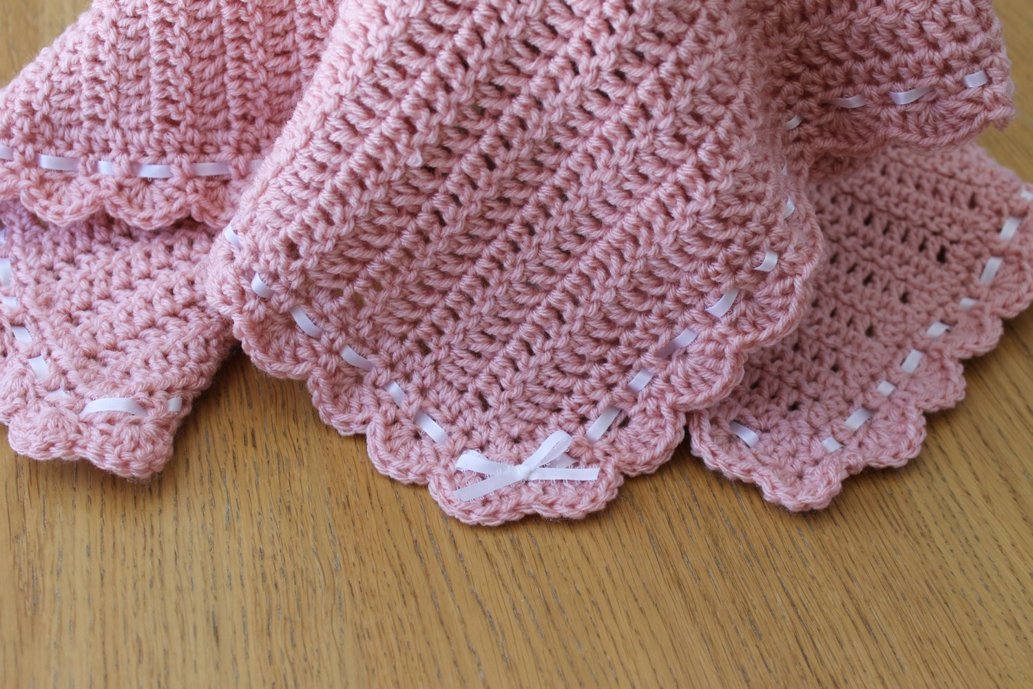 New Crochet Pink Baby Blanket Afghan with Shell Edging and Ribbon Crochet Shell Baby Blanket Of Lovely 50 Ideas Crochet Shell Baby Blanket