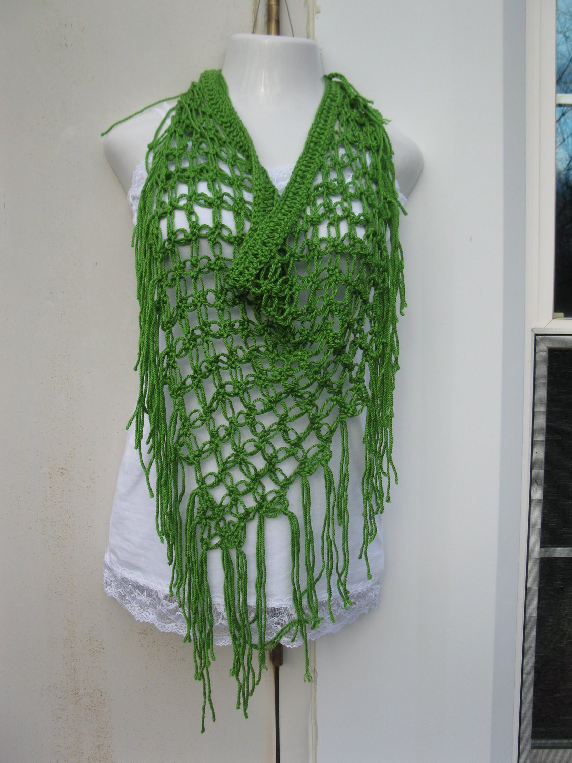 CROCHET SCARF Crochet sarong scarf Apple green by