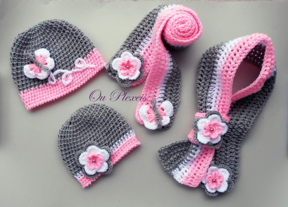 Crochet set hat and scarf crochet baby girl hat and scarf
