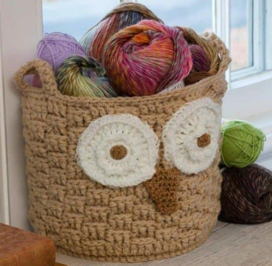 New Crochet Storage Baskets Lots Free Patterns Crochet Owl Basket Of Brilliant 47 Photos Crochet Owl Basket