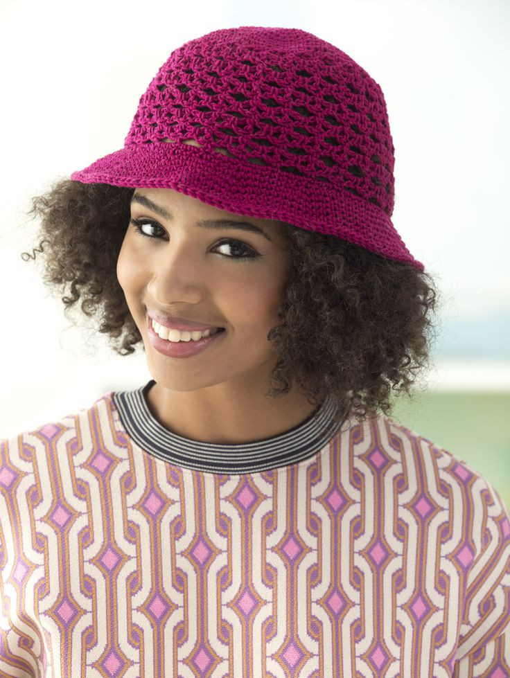 Crochet this cute cotton sun hat with Lion Brand 24 7