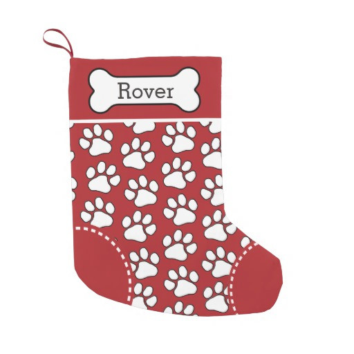 Cute Dog Paw Print Pattern Custom Pet Name Small Christmas