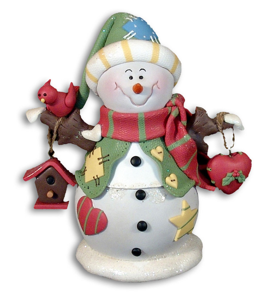 Cute SNOWMAN w Bird HouseChristmas FIGURINE Ornament