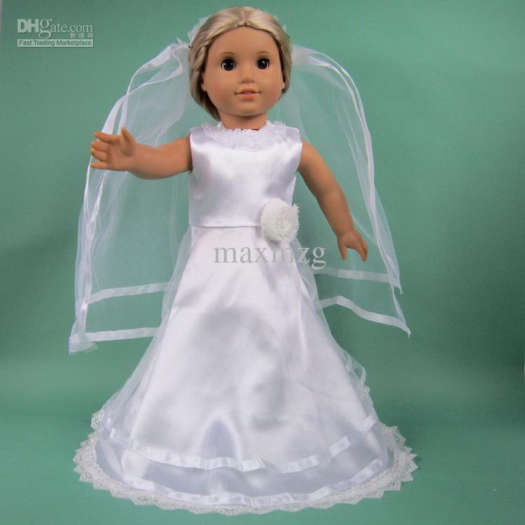 New Doll Clothes Wedding Dress Fits for 18 American Girl Dolls American Girl Doll Wedding Dress Of Beautiful American Girl Doll Wedding Dress Satin and Silver American Girl Doll Wedding Dress