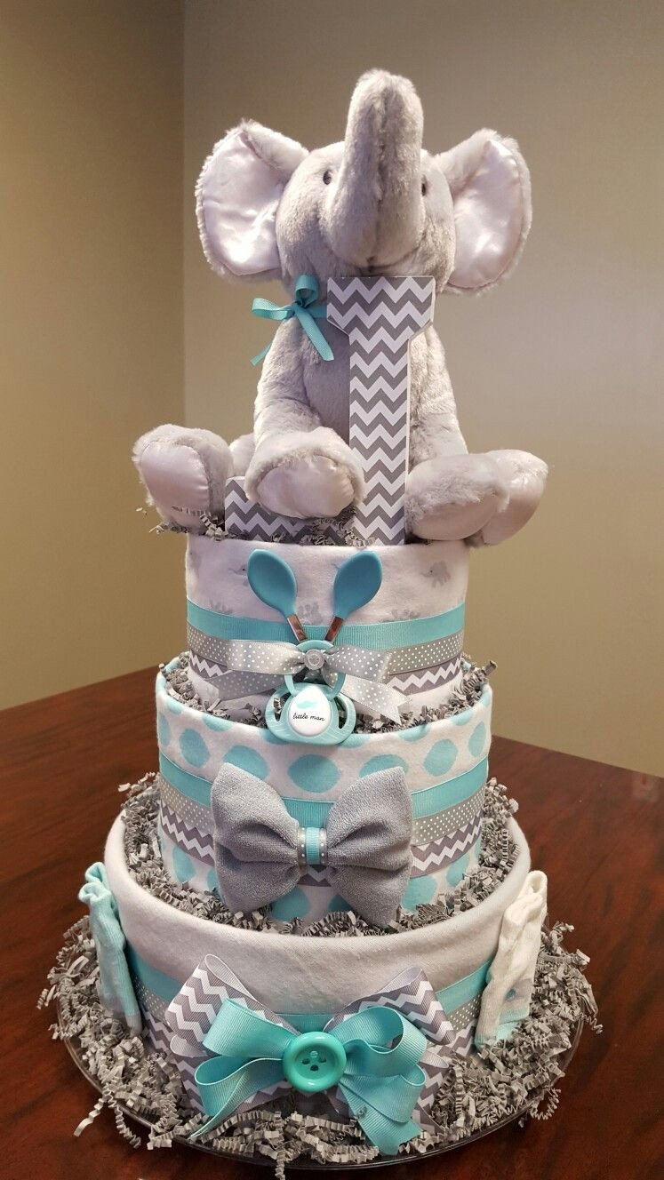 New Elephant Chevron Diaper Cake It S A Boy just as Cute as Baby Diaper Cake Ideas Of New 48 Pictures Baby Diaper Cake Ideas
