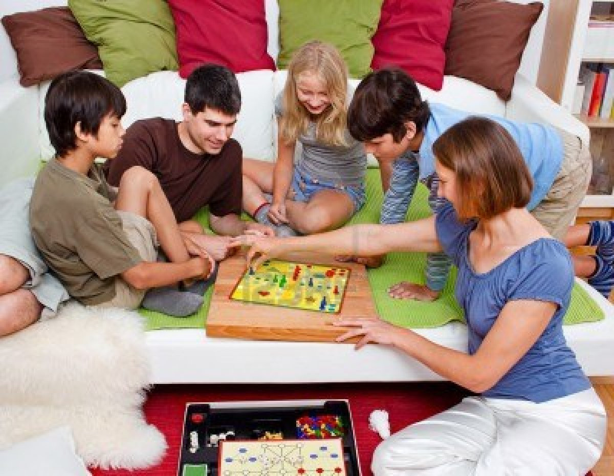 Families Playing Board Games