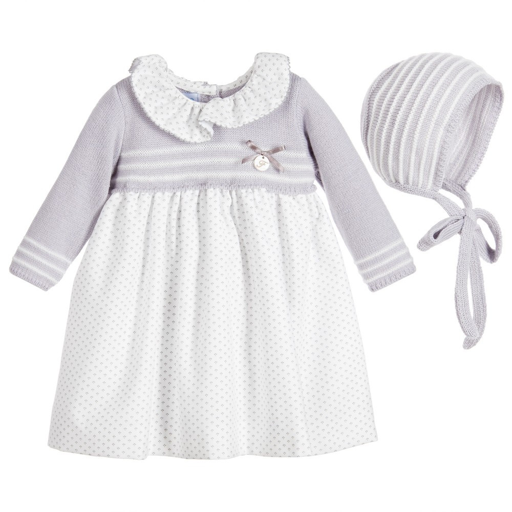 Foque Baby Girls Grey Dress & Knitted Bonnet Set