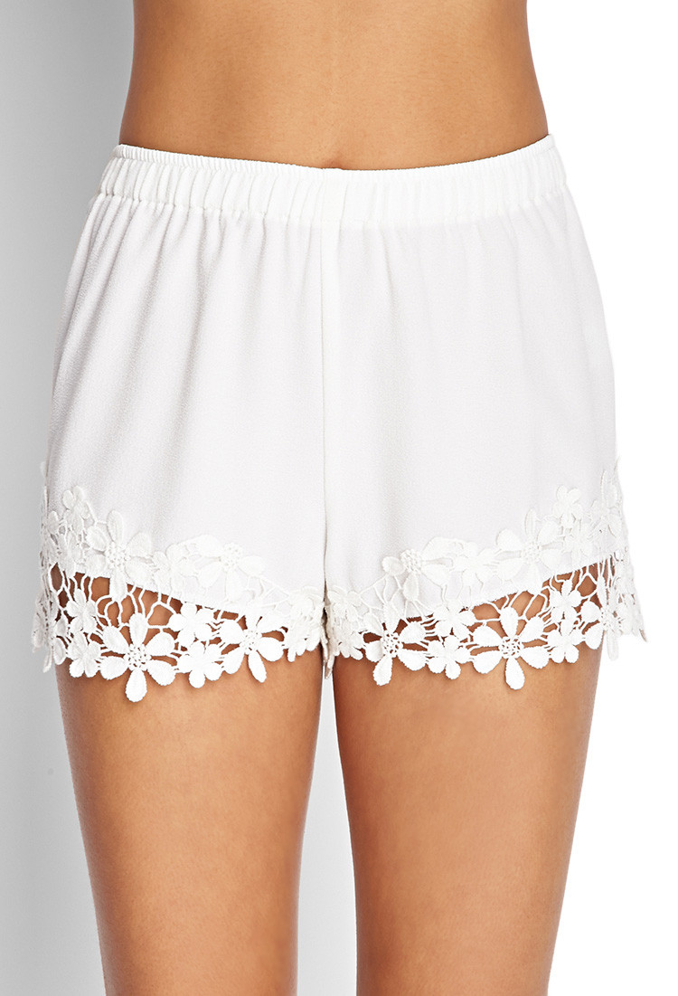 New forever 21 Crochet Crepe Woven Shorts In White White Crochet Shorts Of Amazing 40 Photos White Crochet Shorts