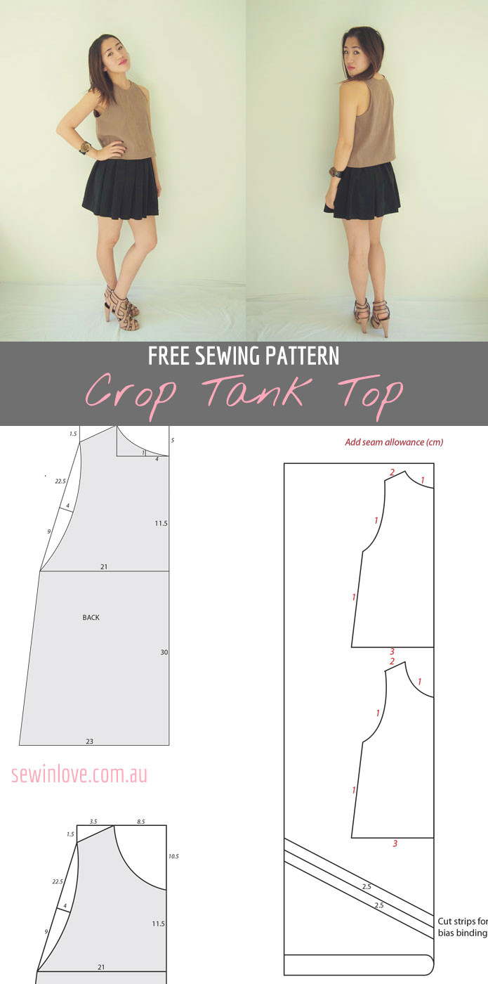 Free crop tank top sewing pattern and tutorial Sew in Love