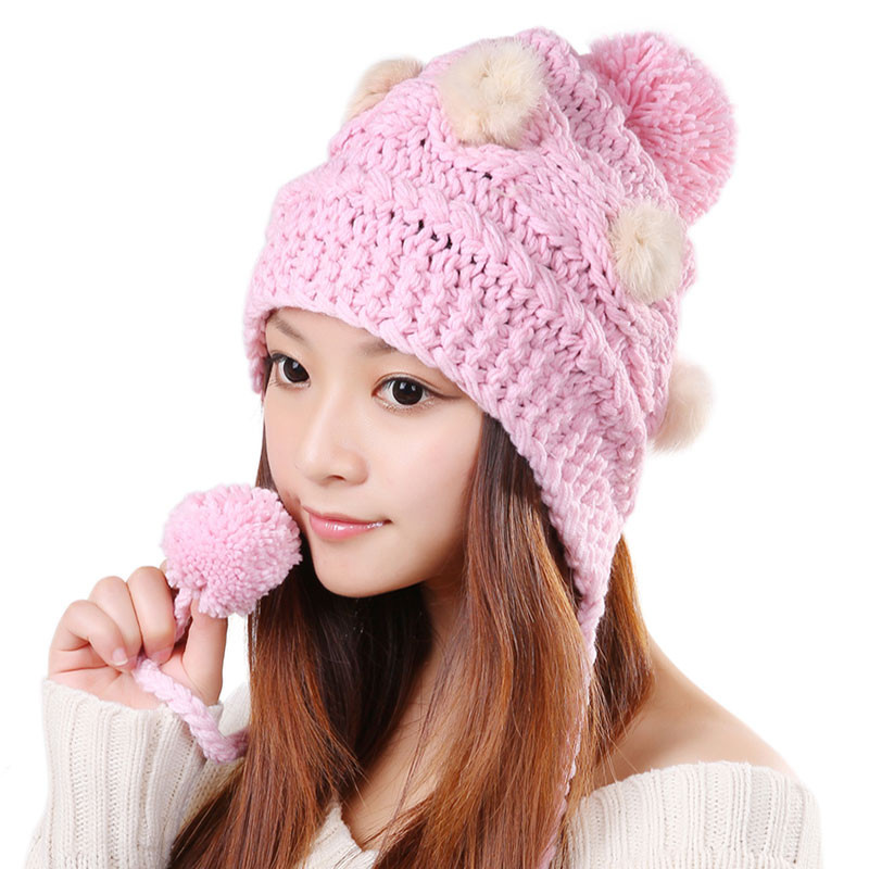 New Free Shipping Cute Various Little Ball Knitted Bomber Hat Girls Knit Hats Of Delightful 44 Pics Girls Knit Hats