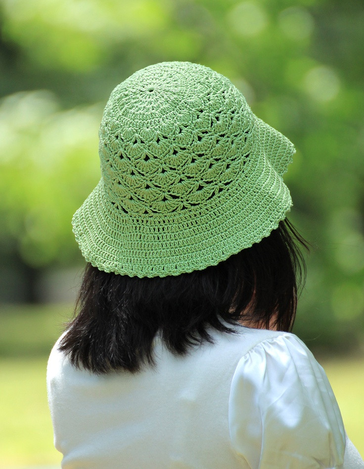 Green crocheted summer hat with a good price