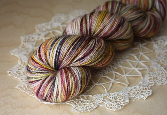 Hand Dyed Yarn Fingering Weight Berry Rose Gold Black Aria