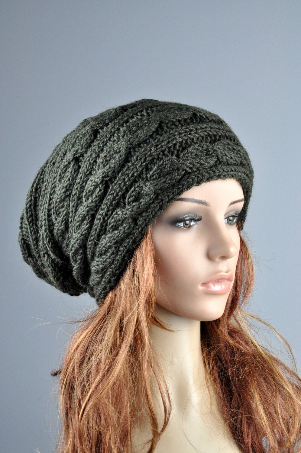 New Hand Knit Hat Olive Chunky Wool Hat Cable Pattern Slouchy Hat Chunky Knit Hat Of Delightful 46 Pictures Chunky Knit Hat