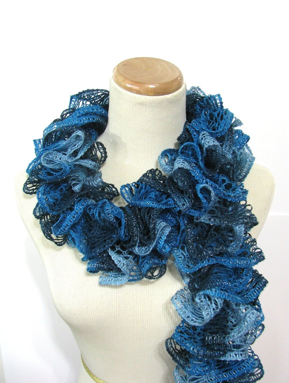 New Hand Knit Ruffled Scarf Turquoise Blue Teal by Arlenesboutique Knit Ruffle Scarf Of Marvelous 50 Pics Knit Ruffle Scarf