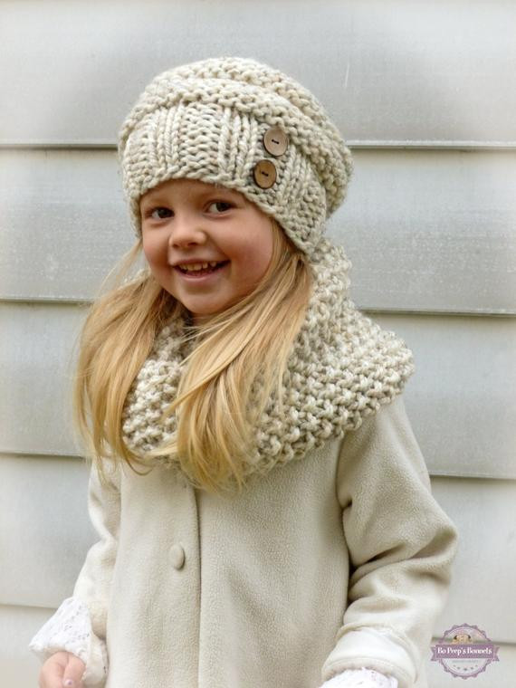 New Hand Knit toddler Kids Slouchy Hat and Cowl Scarf Set In Child Scarf Knit Pattern Of Top 42 Photos Child Scarf Knit Pattern