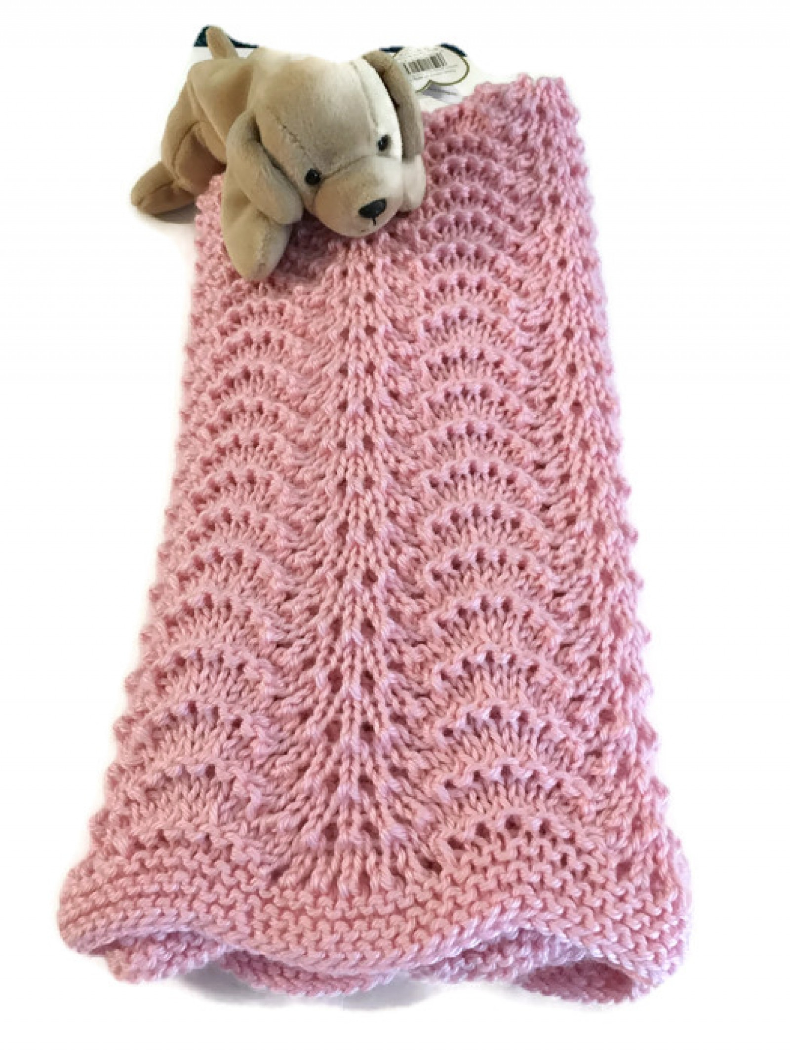 Handknit Baby Blanket New Girl Receiving Lace Caron Simply